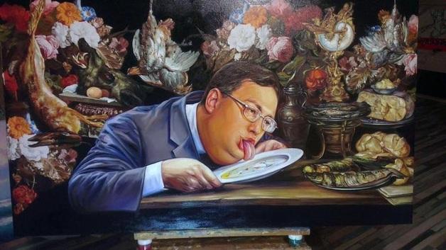 Онищенко выставил на аукцион картину с Геращенко, который облизывает тарелку. Стартовая цена - $ 100