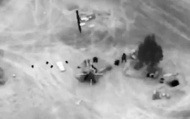 Появилось новое видео удара американцев по российским наемникам в Сирии