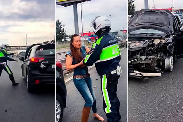 Пьяная женщина протаранила несколько авто на МКАД, пытаясь скрыться от полицейской погони