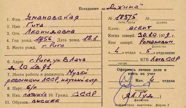 В картотеке агентов КГБ - исполнительный директор Рижской еврейской общины Гита Умановская