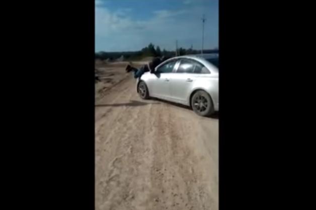 Пьяная автоледи с ребенком в салоне протащила на капоте полицейского