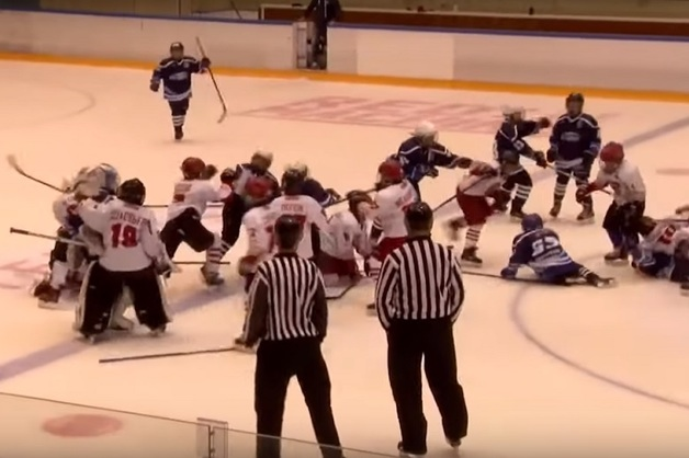Массовая драка 10-летних хоккеистов на матче попала на видео