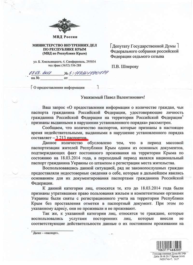 МВД Крыма сообщает: недействительными признаны 3213 паспортов!