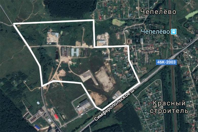 Спутниковый снимок участка, отведенного под застройку (данные Google, 2017)